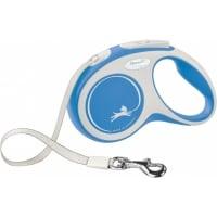 FLEXI New Comfort S, lesă retractabilă câini, 15kg, bandă, 5m, albastru