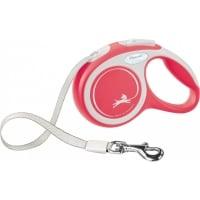 FLEXI New Comfort XS, lesă retractabilă câini, 12kg, bandă, 3m, roșu
