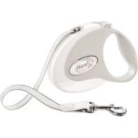 FLEXI Style S, lesă retractabilă câini, 12kg, bandă, 3m, alb