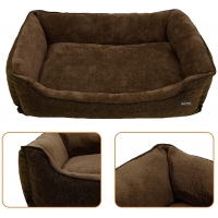 FEANDREA, pat câini, XL, husă detașabilă, maro, 110 x 75 x 27 cm