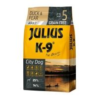 JULIUS-K9 City Dog Adult, Rață cu Pară, hrană uscată fără cereale câini, 10kg