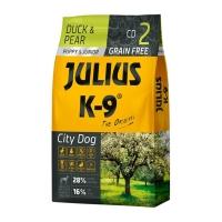 JULIUS-K9 City Dog Puppy & Junior, Rață cu Pară, hrană uscată fără cereale câini junior, 10kg