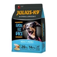 JULIUS-K9 Hypoallergenic Adult, Pește cu Orez, hrană uscată câini, sensibilități digestive, piele și blană, 12kg