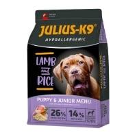 JULIUS-K9 Hypoallergenic Puppy & Junior, Miel cu Orez, hrană uscată câini junior, sensibilități digestive, piele și blană, 10kg