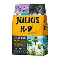 JULIUS-K9 Utility Dog Puppy & Junior, Miel cu Ierburi, hrană uscată fără cereale câini junior, 10kg