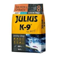 JULIUS-K9 Utility Dog Adult, Somon cu Spanac, hrană uscată fără cereale câini, 3kg