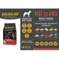 JULIUS-K9 Vital Essentials Adult, Vită cu Orez, hrană uscată câini, 3kg