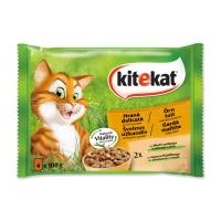 KITEKAT Hrana Delicată, Miel și Iepure, pachet mixt, plic hrană umedă pisici, (în sos), 100g x 4