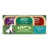 LILY'S KITCHEN World Dishes, Vită, Miel și Pui, multipack taviță hrană umedă fără cereale câini, (In Suc Propriu), 150g x 6