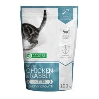 NATURES PROTECTION Kitten, Pui și Iepure, pachet economic hrană umedă fără cereale pisici junior, 100g x 22