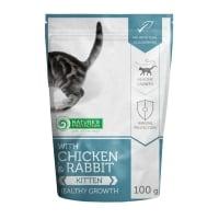 NATURES PROTECTION Kitten, Pui și Iepure, hrană umedă fără cereale pisici junior, 100g