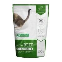 NATURES PROTECTION Kitten, Vită, hrană umedă fără cereale pisici junior, 100g