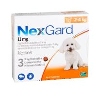 NEXGARD, comprimate masticabile antiparazitare, câini 2-4kg, 3 comprimate