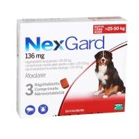 NEXGARD, comprimate masticabile antiparazitare, câini 25-50kg, 3 comprimate