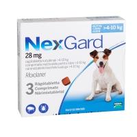 NEXGARD, comprimate masticabile antiparazitare, câini 4-10kg, 3 comprimate
