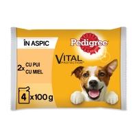 PEDIGREE Vital Protection Adult Multipack, 2 arome, pachet mixt, plic hrană umedă câini, (în aspic), 100g x 4