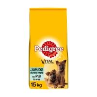 PEDIGREE Vital Protection Junior L, Pui și Orez, hrană uscată câini junior, 15kg