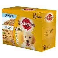 PEDIGREE Vital Protection Junior Multipack, 4 arome, pachet mixt, plic hrană umedă câini junior, (în aspic), 100g x 12