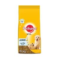 PEDIGREE Vital Protection Junior, Pui și Orez, pachet economic hrană uscată câini junior, 15kg x 2