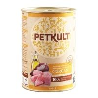 PETKULT Grain Free Adult, Curcan, conservă hrană umedă fără cereale câini, 800g
