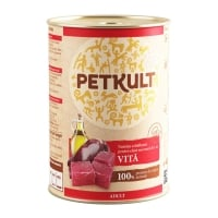 PETKULT Grain Free Adult, Vită, conservă hrană umedă fără cereale câini, 400g