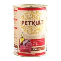 PETKULT Grain Free Adult, Vită, pachet economic conservă hrană umedă fără cereale câini, 800g x 4