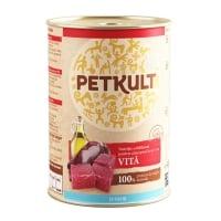 PETKULT Grain Free Junior, Vită, conservă hrană umedă fără cereale câini junior, 400g