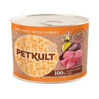 PETKULT Grain Free Mini Adult, Curcan, conservă hrană umedă fără cereale câini, 185g