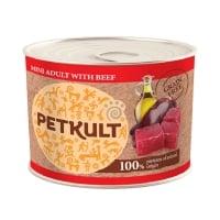 PETKULT Grain Free Mini Adult, Vită, conservă hrană umedă fără cereale câini, 185g