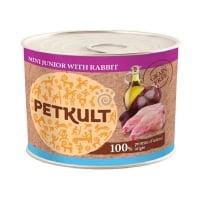 PETKULT Grain Free Mini Junior, Iepure, conservă hrană umedă fără cereale câini junior, 185g