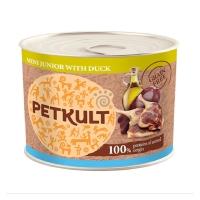 PETKULT Grain Free Mini Junior, Rață, pachet economic conservă hrană umedă fără cereale câini junior, 185g x 6