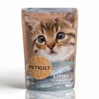 PETKULT Kitten, Cod şi Sardine, plic hrană umedă fără cereale pisici junior, 100g