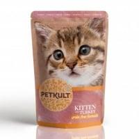 PETKULT Kitten, Curcan, plic hrană umedă fără cereale pisici junior, 100g