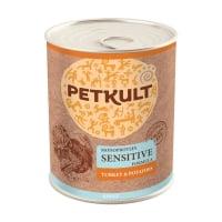 PETKULT Monoprotein Sensitive, Curcan şi Cartof, conservă hrană umedă monoproteică fără cereale câini, 800g