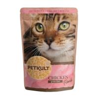 PETKULT Pui, pachet economic plic hrană umedă fără cereale pisici, 100g x 10