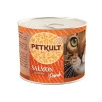PETKULT Somon, conservă hrană umedă fără cereale pisici, 185g