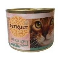 PETKULT Sterilised, Iepure, conservă hrană umedă fără cereale pisici, 185g