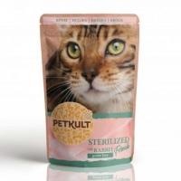 PETKULT Sterilised, Iepure, pachet economic plic hrană umedă fără cereale pisici, 100g x 10