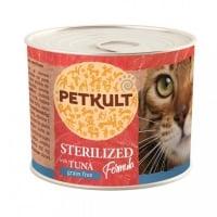 PETKULT Sterilised, Ton, conservă hrană umedă fără cereale pisici, 185g