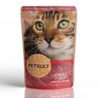 PETKULT Vită, plic hrană umedă fără cereale pisici, 100g