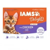 Pachet Iams Delights Kitten in Gravy, 12x85 g