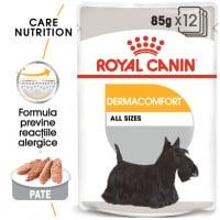 Royal Canin Dermacomfort Adult, bax hrană umedă câini, prevenirea iritațiilor pielii (pate), 85g x 12