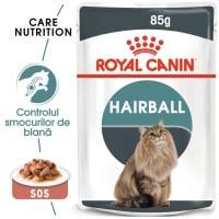 Royal Canin Hairball Care Adult, plic hrană umedă pisici, limitarea ghemurilor de blană, (în sos), 85g
