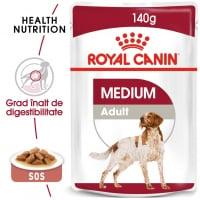Royal Canin Medium Adult, plic hrană umedă câini, (în sos), 140g