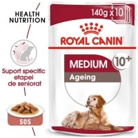 Royal Canin Medium Ageing, bax hrană umedă câini senior, (în sos), 140g x 10