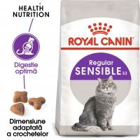 Royal Canin Sensible Adult, pachet economic hrană uscată pisici, digestie optimă, 15kg x 2