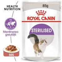 Royal Canin Sterilised Adult, plic hrană umedă pisici sterilizate, (în sos), 85g