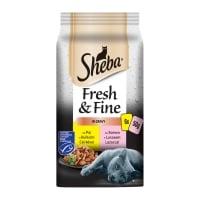 SHEBA Fresh&Fine, Selecții Pasăre și Pește, 2 arome, pachet mixt, plic hrană umedă pisici, (în sos), 50g x 6
