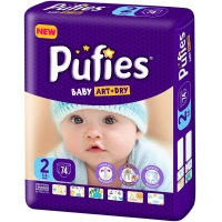 Scutece Pufies Baby Art Mini 2, Maxi Pack, 74 Buc