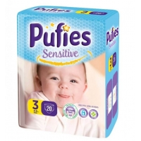 Scutece Pufies Sensitive Midi 3, Small Pack, 20 Buc